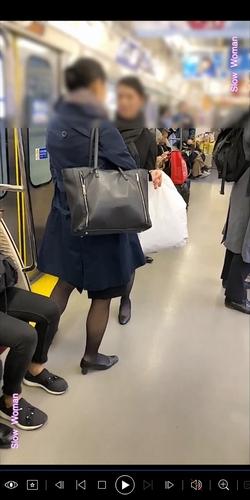 pcolle slow woman 魅惑のCAさんSP1☆帰宅中のPをじっくり観察!大胆なTバックに悶絶^ ^