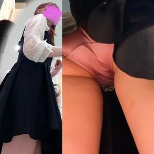 pcolle ぴえんた #14 お買い物中JDちゃんのピンクサテンを3店舗に渡り執拗に逆さ撮り。